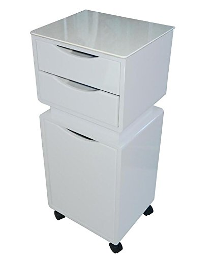 SalonTrolley Hairdressing Cart With 2 Drawers for Beauty Barber Accessory Tool Storage Trolley Cabinet Caster Box White -
