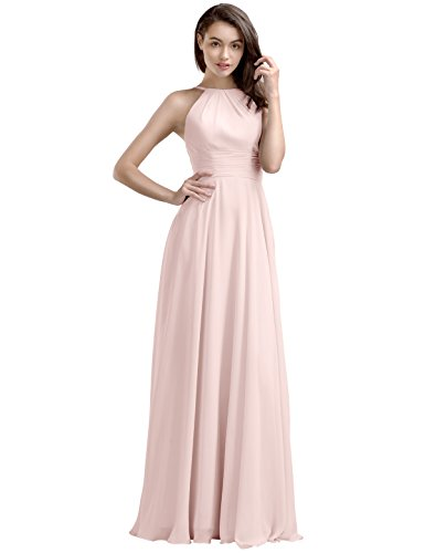 Blush Pink Pearl - AW Bridal Long Bridesmaid Dresses Chiffon Prom Dresses A-Line Formal Dresses for Women, Pearl Pink, US14