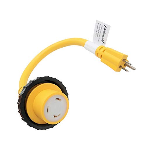 - Parkworld 691968A Shore Power Adapter Cord Household 15A Male 5-15P to L5-30R RV/Marine 30A Female (Yellow, 18 inches)