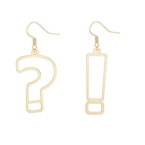 Gold Color Simple Punctuation Punk Style Symbol Big Earring for Girls (gold) - Exclamation Question Mark