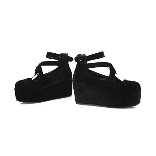 Balamasa Womes Tirer Sur Des Talons Hauts Pompes Solides Chaussures Noir