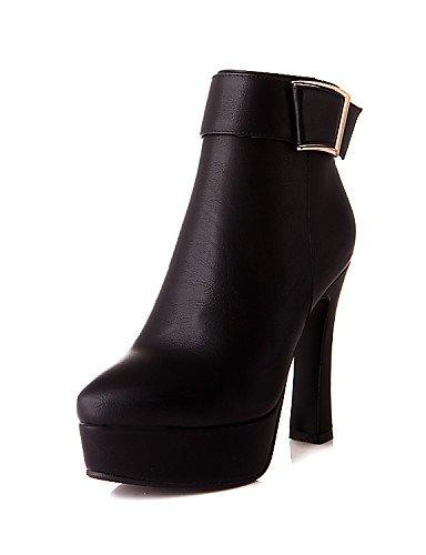 Zapatos us8 Beige Eu39 Black Trabajo Y Uk6 Amarillo Negro Moda Semicuero Mujer Vestido A La Oficina Cn39 Yellow Xzz us8 Botas De Spool Tacón gagdw