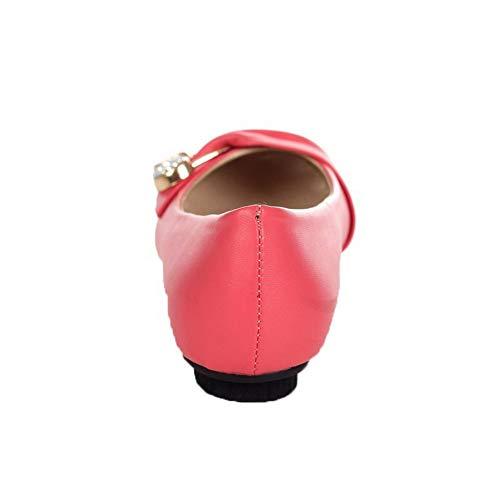 Ballet Puro Tirare Tacco Flats AgooLar Donna Punta GMMDA010879 Tonda Basso Rosso c0tgwtIq4W