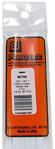 Plastruct .156''x.250'' Styr. Square Rod 5 Pcs Scratch Building Supply #90798