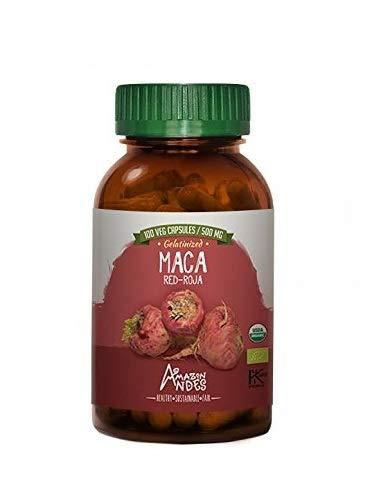 Organic Red maca Root Powder Capsules - 100 Pills * 500 mg - 100% Vegan caps - Supplement from Peru - Amazon Andes