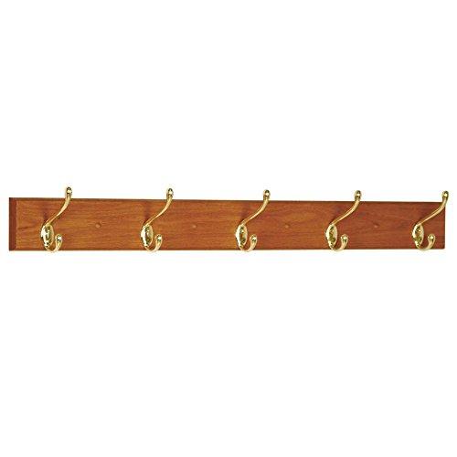 Wooden Mallet 36-Inch 5-Nickel Hook Coat Rack, Medium Oak