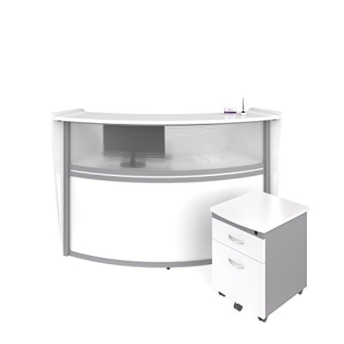 OFM Marque Series Plexi Single-Unit Curved Reception Station - Office Furniture Receptionist/Secretary Desk with White Pedestal (PKG-55310-WHITE)