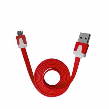 1 Meter (3 FT-3 Inch) USB 2.0 A to Micro USB Flat Charging and Data Transfer Cable (For Phones with Micro USB Connection) (Red)