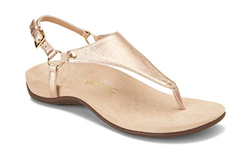 Vionic Women's Rest Kirra Backstrap Sandal - Ladies Sandals with Concealed Orthotic Arch Support Rose Gold Metallic 8 W US
