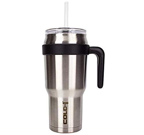 REDUCE COLD-1 Stainless Steel 40oz Extra Large Vacuum Insulated Thermal Mug, 3-in-1 Lid and Ergonomic Handle - Ideal for Coffee or Water, Stainless Steel Finish, Great for Home/Travel, Straw Included