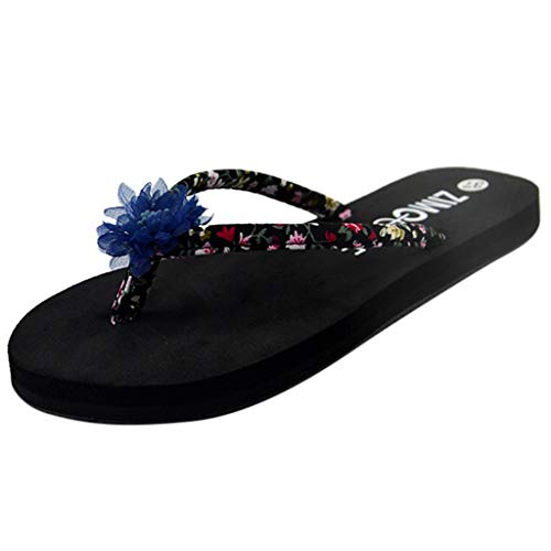 (✔ Hypothesis_X ☎ Womens Pool Beach Shoes with Flower Pattern Summer Bohemian Non-Slip Slippers Beach Walk Shoes Blue)