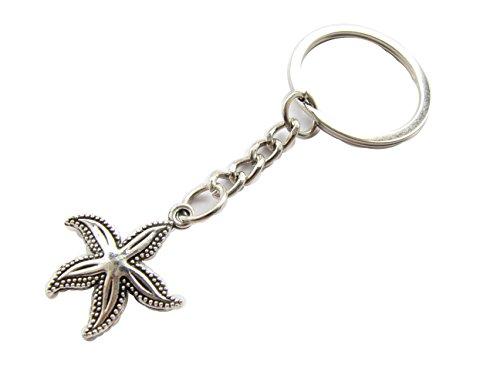 Small starfish keychain. tiny star fish ocean pendant. seastar. sea star. beach jewelry.