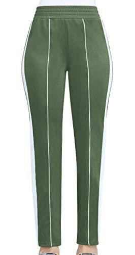 Vert Femmes Casual Pantalon Slim Jeune Armée Simples Rayures À Longues Pantalons Pour Couture Et Mode La nq6RnXYw