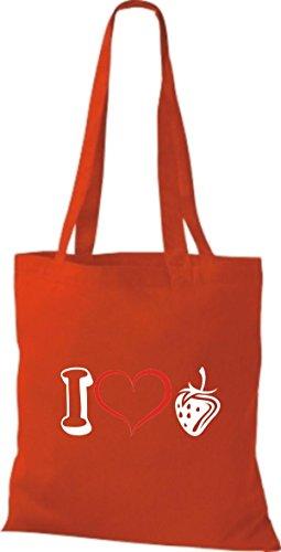 Shirtstown Bolso de tela Frutas I love Fresa Rojo