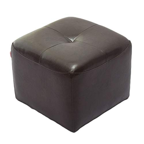 LIXIONG Ottomans Pouffes Footstools Solid Wood Frame Solid Color PU Sofa Stool Fine Craft Bearing 1001KG, 6 Colors (Color : Brown)