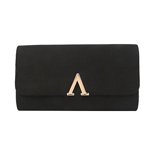 Hotstylezone Suede Bridal Ladies Wedding Wedding Clutch Black Glamour Prom Party Purse Women Bag gRqrgx