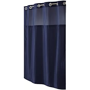 dark blue shower curtain. Hookless RBH40MY297 Fabric Shower Curtain with Built in Liner  Navy Blue Amazon com