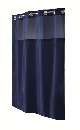 Hookless RBH40MY297 Fabric Shower Curtain with Built in Liner  -Navy Blue (Navy Blue Fabric Shower Curtain)
