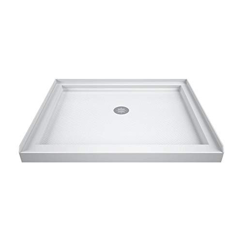 DreamLine SlimLine 36 in. D x 36 in. W x 2 3/4 in. H Center Drain Single Threshold Shower Base in White
