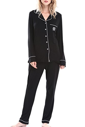 Women's Long Sleepwear Pajama Set Loungewear with Pocket by Nora Twips(Black,XL)