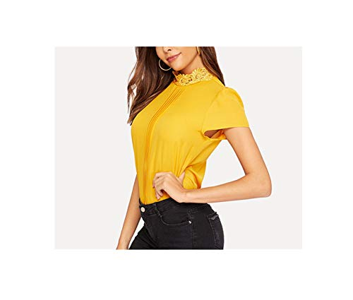 Lace Neckline Keyhole Back Solid Top Summer Ginger Bright Cap Sleeve Womens Tops and Blouses,Ginger Bright,XS