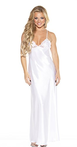 Shirley of Hollywood Women's Charmeuse and Lace Long Gown, White, X-Large - Lingerie Sexy Charmeuse Long Gown