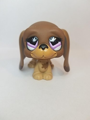 Bassett Hound #665 (Brown, Purple Eyes, Tan Muzzle) Littlest Pet Shop (Retired) Collector Toy - LPS Collectible Replacement Single Figure - Loose (OOP Out of Package & Print)