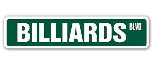 1080 Graphics Billiards Street Sign Decal Sticker Foosball Pool cue pooltable Darts Table Parlor Player Gift ()