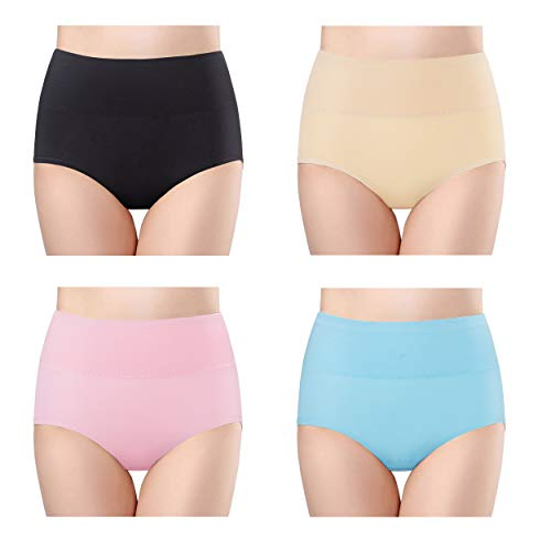 High Waist Tummy Control Cotton Briefs Underwear Soft Stretch Breathable Comfortable Panties 1B1A1LB1SP-XL ()