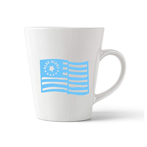 - Style In Print Light Blue Old Glory American Flag Ceramic Latte Mug - 12 OZ