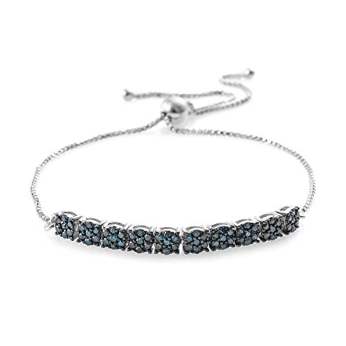 Round Blue Diamond Bracelet 925 Sterling Silver Platinum Plated Gift Jewelry for Women Cttw 0.8 Adjustable ()