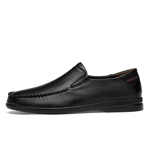 Loafers Men's Premium Driving Breathable Casual Black Slip SUNROLAN Genuine Leather on Shoes HUqwpxTw5O