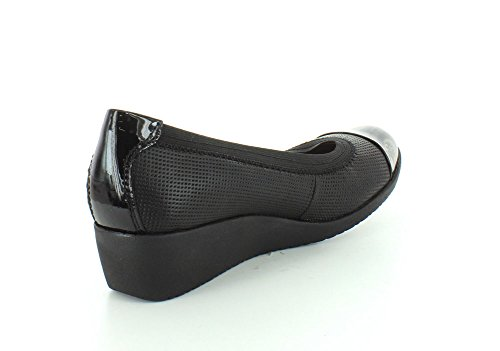 CLARKS Damen Petula Sadie Synthetic Wedge Schwarzes Leder