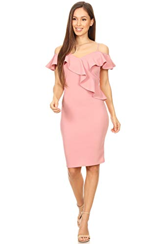 Solid Casual Cold Shoulder Short Sleeve Bodycon Midi Ruffle Dress/Made in USA Dusty Pink L