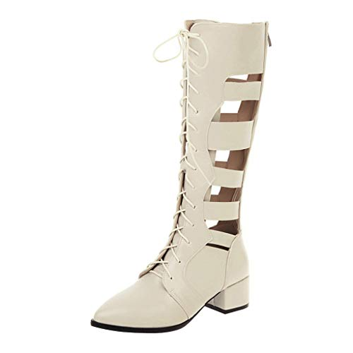 Kiminana Women Fashion Sexy Hollow Out Pointed Toe High-Tube Boots Casual Solid Color Low-Heel Zipper Single Shoes Beige