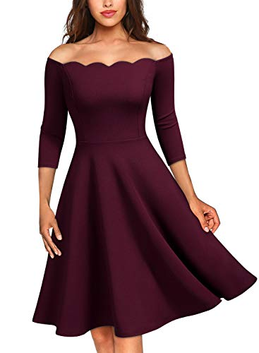 MISSMAY Women's Vintage Cocktail Party Half Sleeve Boat Neck Swing Dress Small Burgundy ()