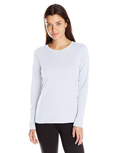 Hanes Women's Sport Cool Dri Performance Long Sleeve Tee, White, Medium