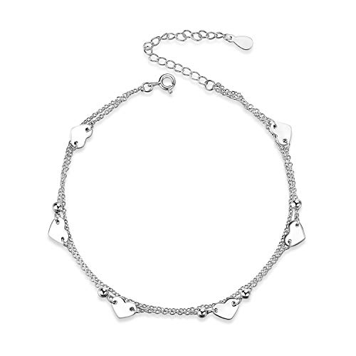 YFN Double Layered Chains Heart Anklet with Heart and Ball, 925 Sterling Silver Ankle Bracelets for Women, 210mm+60mm