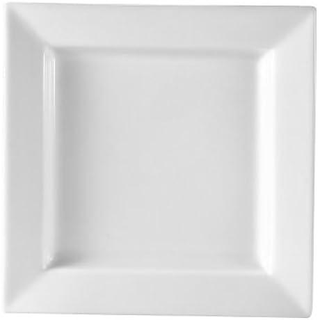 CAC China PNS 16 Princesquare 10 Inch Super White Porcelain Square Plate Box Of 12