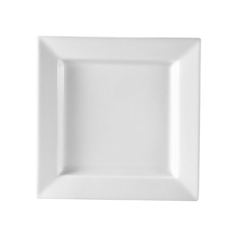 CAC China PNS-21 Princesquare 12-Inch Super White Porcelain Square Plate, Box of 12