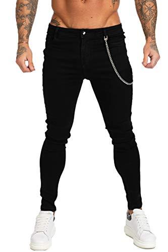 GINGTTO Mens Skinny Jeans Black Stretch Slim Fit Denim Jeans Super Comfy Non Ripped 30