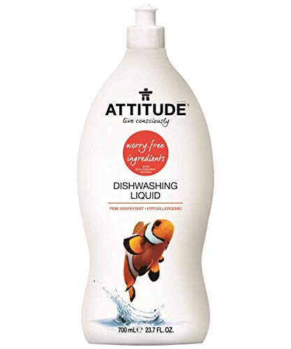 (ATTITUDE Hypoallergenic Dishwashing Liquid, Pink Grapefruit, 23.7 Fluid Ounce)