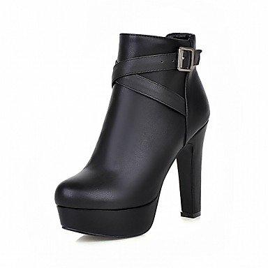 RTRY Zapatos De Mujer De Piel Sintética Pu Novedad Moda Otoño Invierno Confort Botas Botas Chunky Talón Puntera Redonda Botines/Botines Hebilla Parte &Amp; US7.5 / EU38 / UK5.5 / CN38