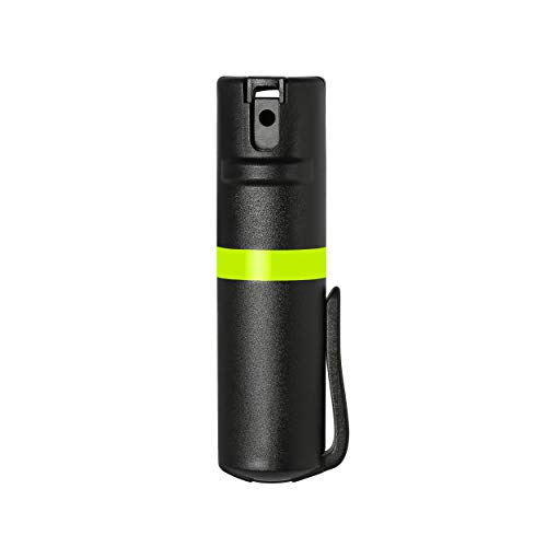 (POM Black Pepper Spray Pocket Clip Model - Maximum Strength Self Defense OC Spray Safety Flip Top 10ft Range Running and Outdoors (Lime))