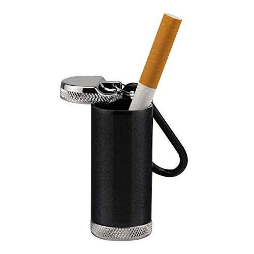 Aufew Pocket Ashtray with Keychain Carabiner, Water Resistant Portable Cigarette Ash Holder Windproof Cigar Case for Outdoors (Black)