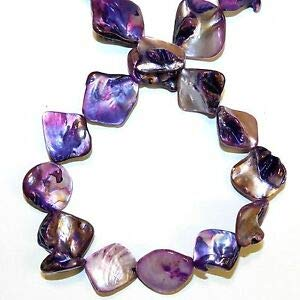 (MP1136 Purple 16mm - 20mm Diamond Nugget Mother of Pearl Gemstone Shell Bead 15