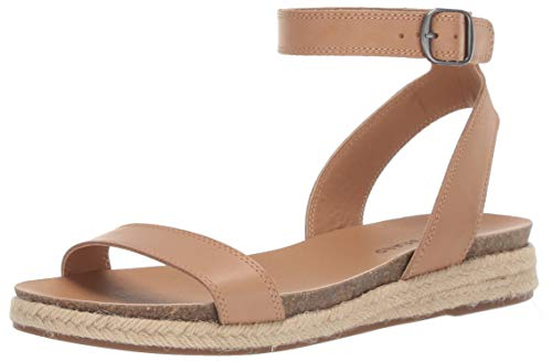 Lucky Brand Women's GARSTON Espadrille Wedge Sandal, Stone, 5.5 M - Shoes Wedge Leather