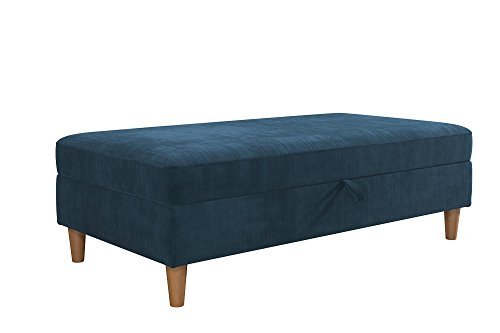 (DHP Hartford Storage Ottoman with Wooden Legs and Storage, Space Saving Design, Blue Chenille)