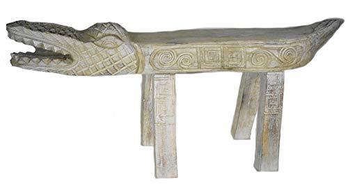 Florida Gators Flower - Hand Carved Florida Gator Alligator Crocodile Wood Bench Chair White Statue HUGE