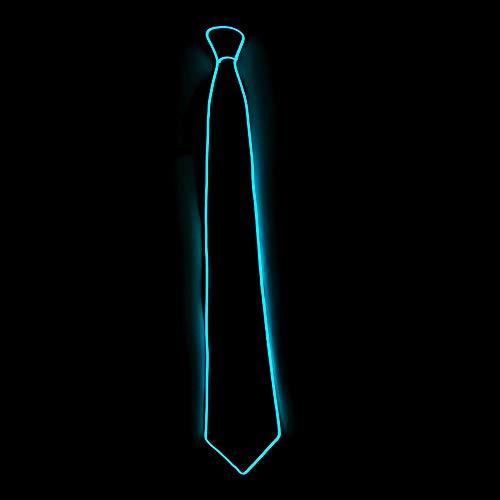 Aobiny Halloween Light Up Neck LED Tie for Men Novelty Necktie,for Rave Party Burning (Sky Blue) -